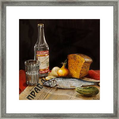 Still Life With Vodka And Herring Framed Print by Roxana Paul