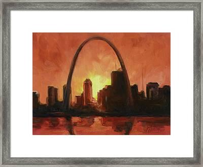St.louis Downtown - Sunset Framed Print