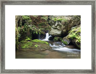 Framed Print featuring the photograph Stone Guardian Of The Waterfalls - Bizarre Boulder On The Bank by Michal Boubin