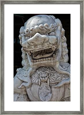 Stone Lion Chinatown Nyc Framed Print