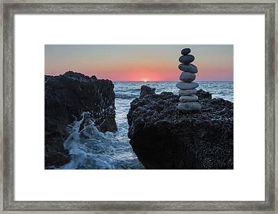 Stone Tower By The Beach Framed Print