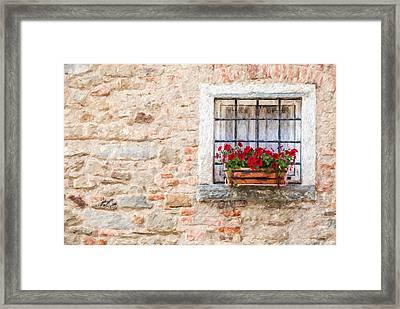 Stone Window Of Cortona  Framed Print by David Letts