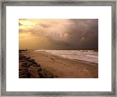 Storm On The Beach Framed Print by Paul Boroznoff