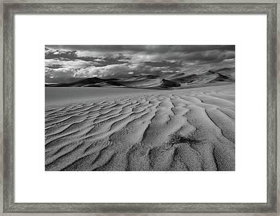 Storm Over Sand Dunes Framed Print