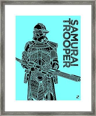 Stormtrooper - Star Wars Art - Blue Framed Print by Studio Grafiikka
