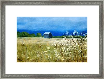 Framed Print featuring the pastel Stormy Afternoon by Jan Amiss