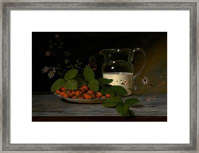 Strawberries And Cream Framed Print by Mountain Dreams
