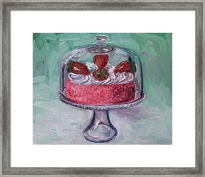 Strawberry Mousse Cake Framed Print by John Kilduff