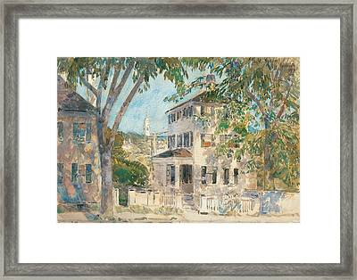 Street In Portsmouth Framed Print by Childe Hassam