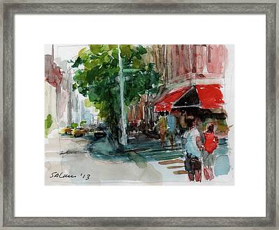 Streetscape With Red Awning - 82nd Street Market Framed Print by Peter Salwen