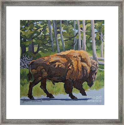 Framed Print featuring the painting Strutting Along, Yellowstone by Erin Fickert-Rowland