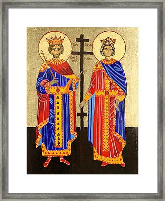 Sts. Constantine And Helen Framed Print by Amy Reisland-Speer