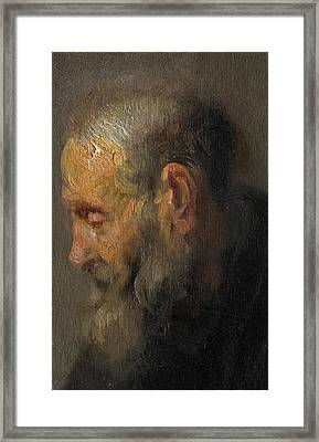 Study Of An Old Man In Profile Framed Print by Rembrandt