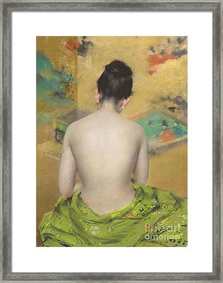 Study Of Flesh Color And Gold Framed Print by William Merritt Chase