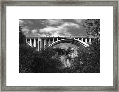 Suicide Bridge Bw Framed Print by Robert Hebert