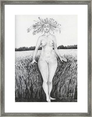Framed Print featuring the drawing Summer by Anna  Duyunova
