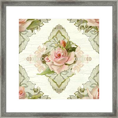 Summer At The Cottage - Vintage Style Damask Roses Framed Print by Audrey Jeanne Roberts