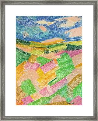 Framed Print featuring the pastel Summer Fields  by Norma Duch