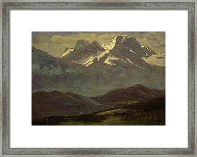 Summer Snow On The Peaks Or Snow Capped Mountains Framed Print by Albert Bierstadt