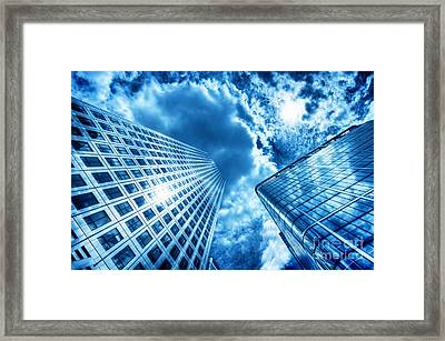 Sun Reflecting In Modern Business Skyscraper, High-rise Building Framed Print by Michal Bednarek
