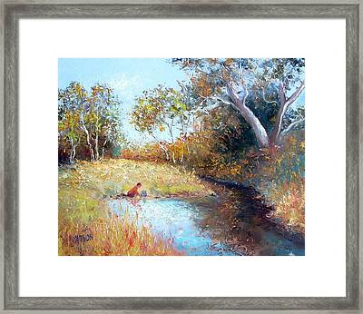 Sunday By The Creek Framed Print by Jan Matson