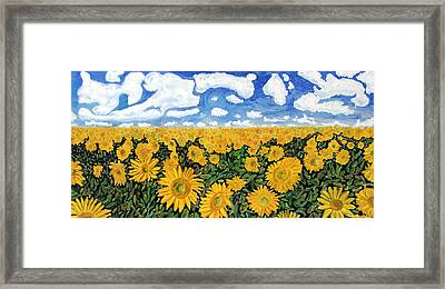Sunflowers That Ate Manhattan Framed Print by Michael Ledray