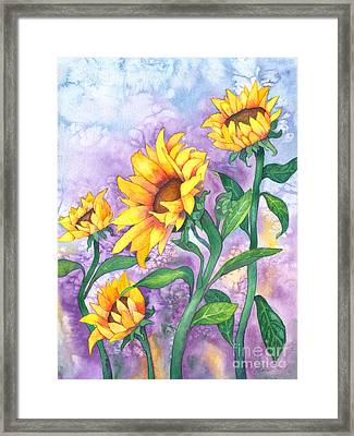Framed Print featuring the painting Sunny Sunflowers by Kristen Fox