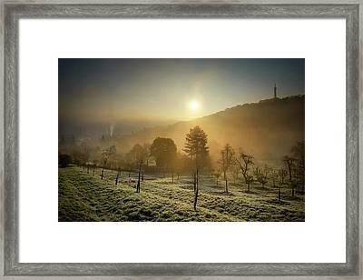 Sunrise From Petrin Yard In Prague, Czech Republic Framed Print