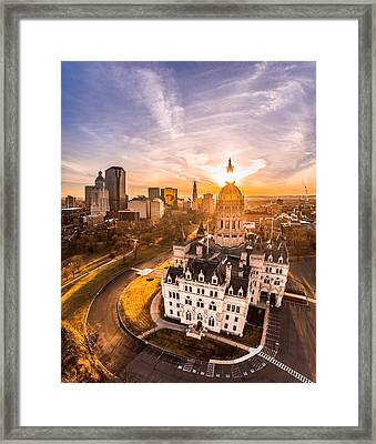Framed Print featuring the photograph Sunrise In Hartford, Connecticut by Petr Hejl