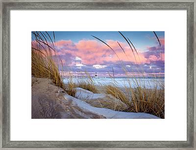 Sunrise In Michigan City Framed Print
