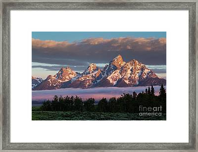 Sunrise On The Teton Mountains Framed Print