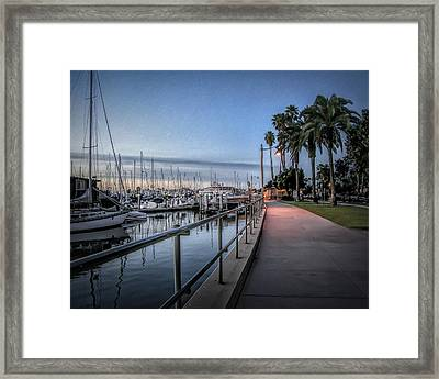 Sunrise Over Santa Barbara Marina Framed Print by Tom Mc Nemar