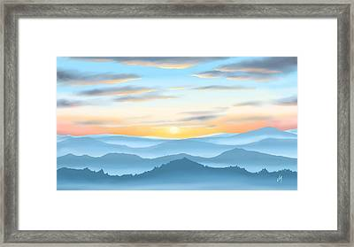 Framed Print featuring the painting Sunrise by Veronica Minozzi