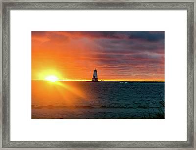 Sunset And Lighthouse Framed Print