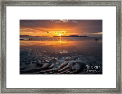 Framed Print featuring the photograph Sunset And Sand Ripples by Spencer Baugh