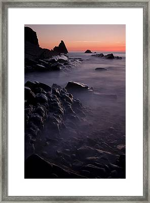 Sunset At Blegberry Beach Framed Print