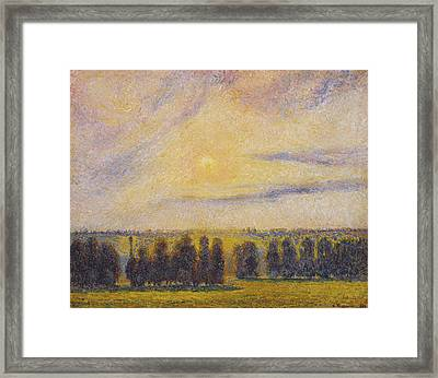 Sunset At Eragny Framed Print by Camille Pissarro