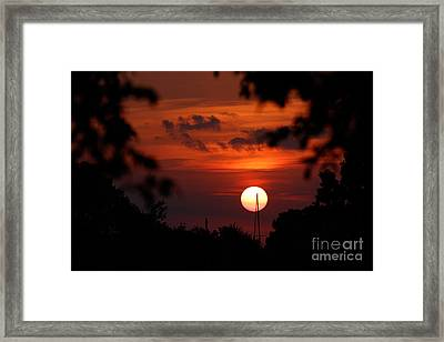 Sunset At Lake Hefner Framed Print