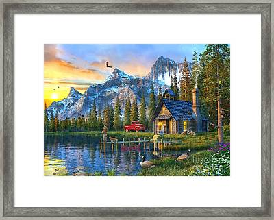 Sunset At Log Cabin Framed Print by Dominic Davison