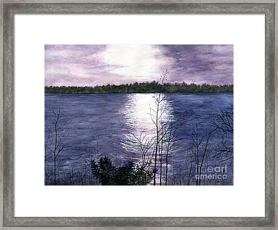 Framed Print featuring the painting Sunset At Niagara River New York by Melly Terpening