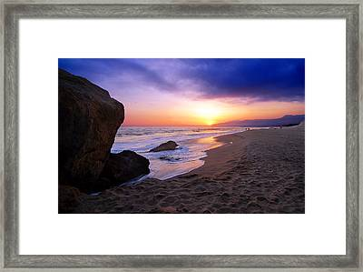 Sunset At Pt. Dume Framed Print by Ron Regalado