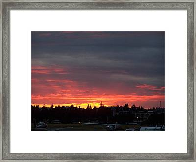 Sunset At Tumwater Framed Print by Laurie Kidd