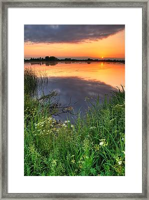 Sunset By The Lake Framed Print by Jaroslaw Grudzinski