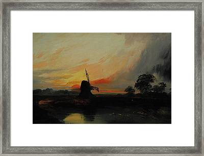 Sunset By The Windmill Framed Print