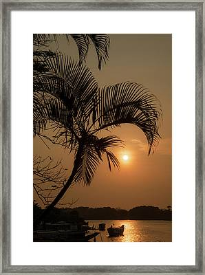 sunset Huong river Framed Print