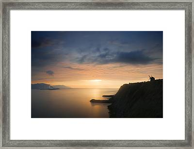 sunset in Getxo with Aixerrota mill silhouette Framed Print by Mikel Martinez de Osaba