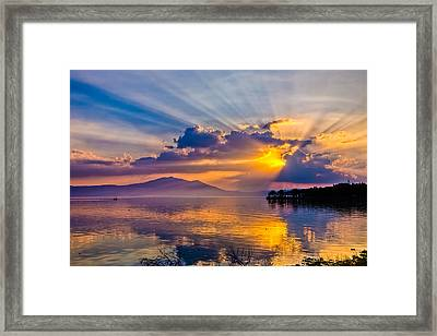 Sunset On Lake Chapala Framed Print by Tommy Farnsworth