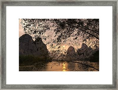 Sunset On The Li River Framed Print
