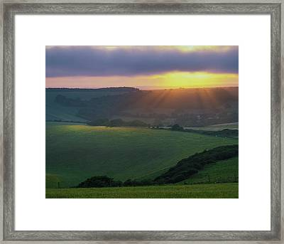 Sunset Over The South Downs Framed Print