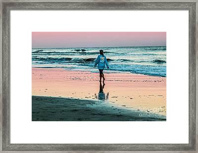 Sunset Stroll In The Surf Hilton Head Framed Print